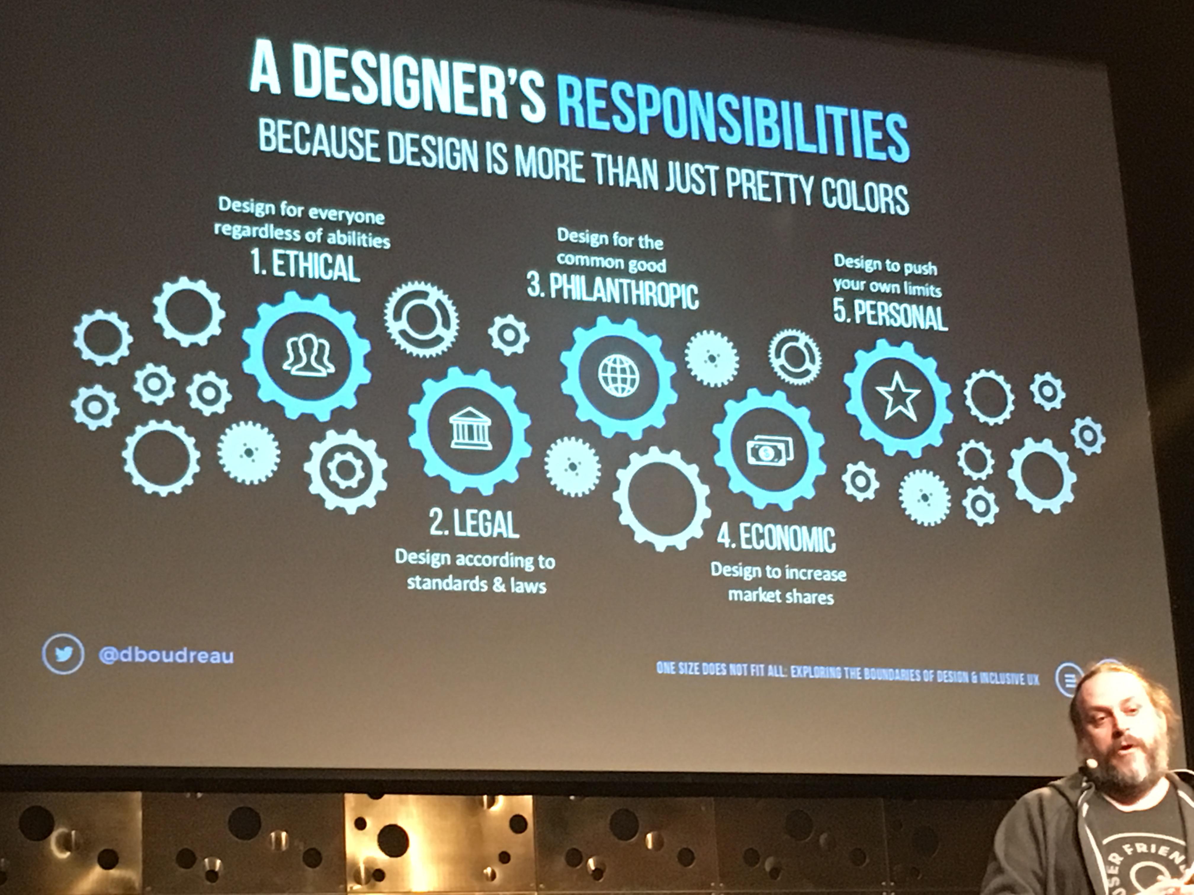 Denis Budreau talar om en designers skyldigheter på Funkas tillgänglighetsdagar 2016.