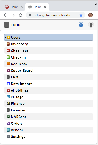 Screenshot of FOLIO apps
